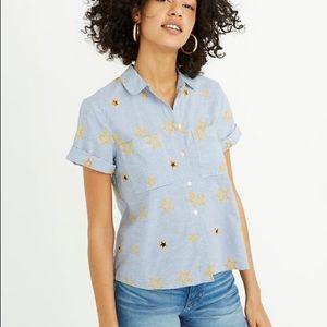 MADEWELL star button short sleeve shirt SZ S